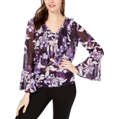 INC International Concepts Bubble Sleeve V Neck Blouse