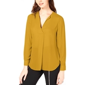 INC International Concepts Pleated V Neck Blouse