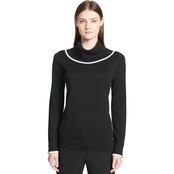 Calvin Klein Cowl Neck Pullover With Piping