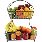 Mikasa Gourmet Basics Band and Stripe 2-Tier Metal Fruit Storage Basket