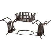 Gourmet Basics by Mikasa Band and Stripe Metal Hostess Tabletop Buffet Picnic Caddy
