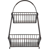 Mikasa Gourmet Basics General Store 2 Tier Flatback Metal Storage Basket