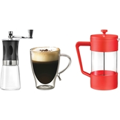 Starfrit 34 oz. Coffee Press, Glass Cup and Coffee Grinder