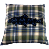 Realtree Fish Plaid Decorative 20 x 20 in. Pillow