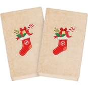 Linum Home Textiles Christmas Stocking Embroidered 2 pc. Hand Towel Set