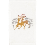 Linum Home Textiles Christmas Deer Pair Embroidered Hand Towel