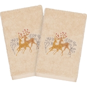 Linum Home Textiles Christmas Deer Pair Embroidered Hand Towels 2 pc. Set