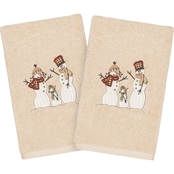 Linum Home Textiles Christmas Snow Family Embroidered Hand Towels 2 pk.