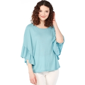 JW Ruffle Sleeve Slub Knit Top