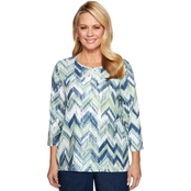 Alfred Dunner Textured Chevron Top