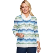 Alfred Dunner Textured Knit Top with Woven Trim