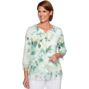 Alfred Dunner Floral Print Lace Trim Top
