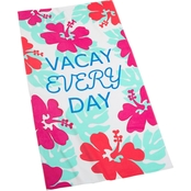 Martha Stewart Collection Vacay Every Day Graphic Print Beach Towel