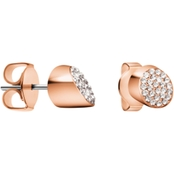 CALVIN KLEIN STAINLESS STEEL/ROSE GOLD PLATED BRILLIANT CRYSTAL EARRINGS