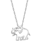 Sterling Silver Diamond Accent Elephant Pendant