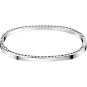 CALVIN KLEIN STAINLESS STEEL BLUE SWAROVSKI CRYSTALS HOOK BANGLE SIZE SMALL