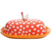 Gibson Home Life on the Farm Rooster Covered Butter Dish