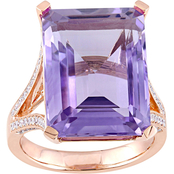 Sofia B. Amethyst and 1/2 CTW Diamond Ring in 14K Rose Gold