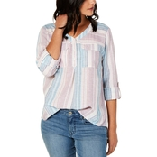 Style & Co. Striped Roll Tab Top