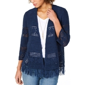 Style & Co. Fringe Trimmed Cardigan Sweater