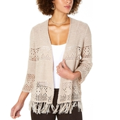 Style & Co Fringe-Trimmed Cardigan Sweater