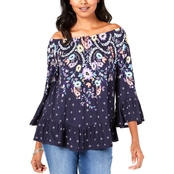 Style & Co. Patchwork Floral Off The Shoulder Top
