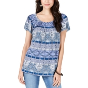 Style & Co Printed Pleated Neck Top