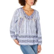Style & Co. Printed Peasant Top