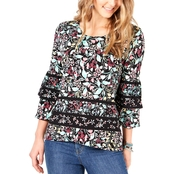 Style & Co. Floral Print Tiered Sleeve Crossover Top