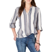 Style & Co. Cotton Textured Stripe Roll Tab Top