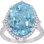 Blue Topaz White Sapphire with 3/8 CTW Diamond Halo Ring in 14K White Gold