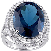 Sofia B. London-Blue Topaz and 7/8 CT TW Diamond Double Halo Ring in 14k White Gold