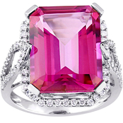 Sofia B. 14K White Gold 1/2 CTW Diamond Pink Topaz and Cocktail Ring