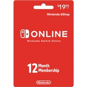 Nintendo Switch Online 12 Month Membership Card
