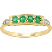 Sofia B. Created Emerald and Diamond Accent 4 Stone Bar Ring in 10K Yellow Gold
