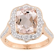 Sofia B. Morganite and 5/8 CTW Diamond Vintage Halo Ring in 14K Rose Gold