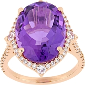 Sofia B. 14K Rose Gold 3/8 CTW Diamond, Amethyst and White Sapphire Cocktail Ring