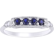 10K White Gold Diamond Accent Created Blue Sapphire 4 Stone Bar Ring