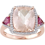 Morganite Pink Tourmaline and 1/3 CTW Diamond Halo Ring in 14K Rose Gold