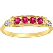 Sofia B. Created Ruby and Diamond-Accent 4-Stone Bar Ring in 10k Yellow Gold