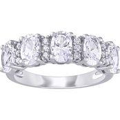 Created White Sapphire and 1/10 CT TW Diamond Semi-Eternity Ring in 10k White Gold