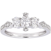 Diamore 14K White Gold 7/8 CTW Diamond 3 Stone Engagement Ring