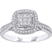 Diamore 10K White Gold 1/3 CTW Diamond Halo Cluster Engagement Ring