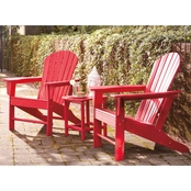 Signature Design by Ashley Adirondack Chairs (2) & End Table Set Red