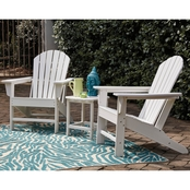 Adirondack Chairs (2) & End Table Set White