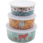 Gibson Home Life on the Farm Melamine 3 pc. Bowl Set with Lids