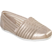 BOBS Women's Plush Obsessed Leather and Mesh Slip On Shoes