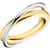 Calvin Klein Goldtone Stainless Steel Double Ring
