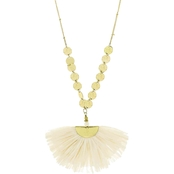 Panacea Raffia Half Moon Pendant Necklace