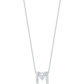 Roberto Coin 18K White Gold Diamond Accent Block Letter M Pendant